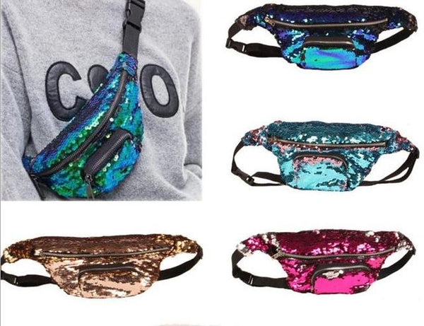 Retro Glam color changing sequins fanny pack waist bag (1462479585323)