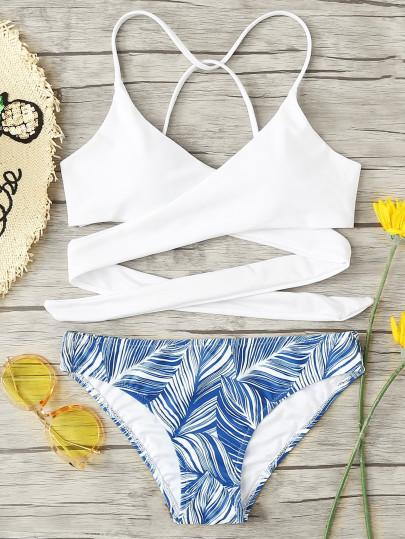 Wrap up lace up blue leaf 2 piece bikini set