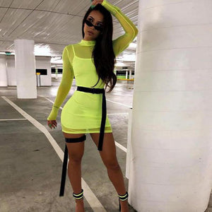 Sheer Neon Green mock neck long sleeve mini dress (2180140761131)