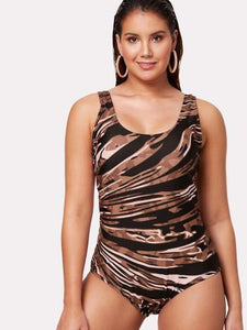 *PLUS SIZE* zebra style cross back plus size one piece monokini swimsuit (1462475358251)
