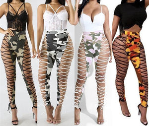 Lace up cutout Camo pants (1462457204779)