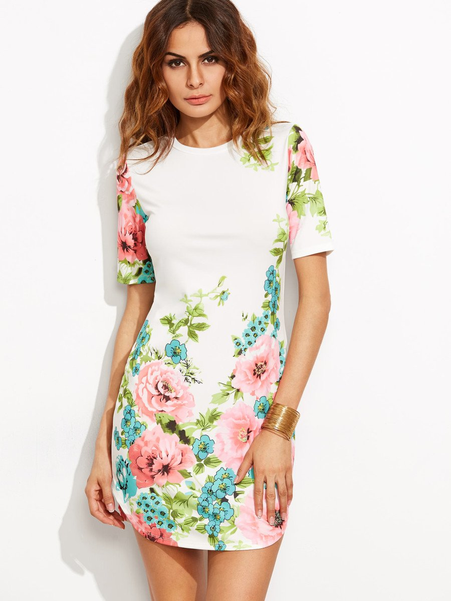Flower passion curved hem mini dress (1462462545963)