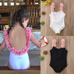 Girls Swan princess ruffle low back kids one piece swimsuit (1757035692075)