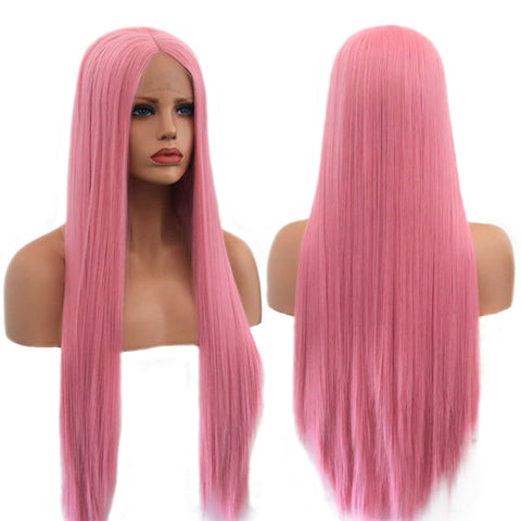 Pink color Watercolor High quality Cosplay heat resistant lace front glueless long straight hair wig (4111345254443)