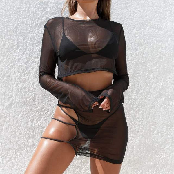 Sheer long sleeve crop top cutout skirt bikini coverup set (1778942214187)