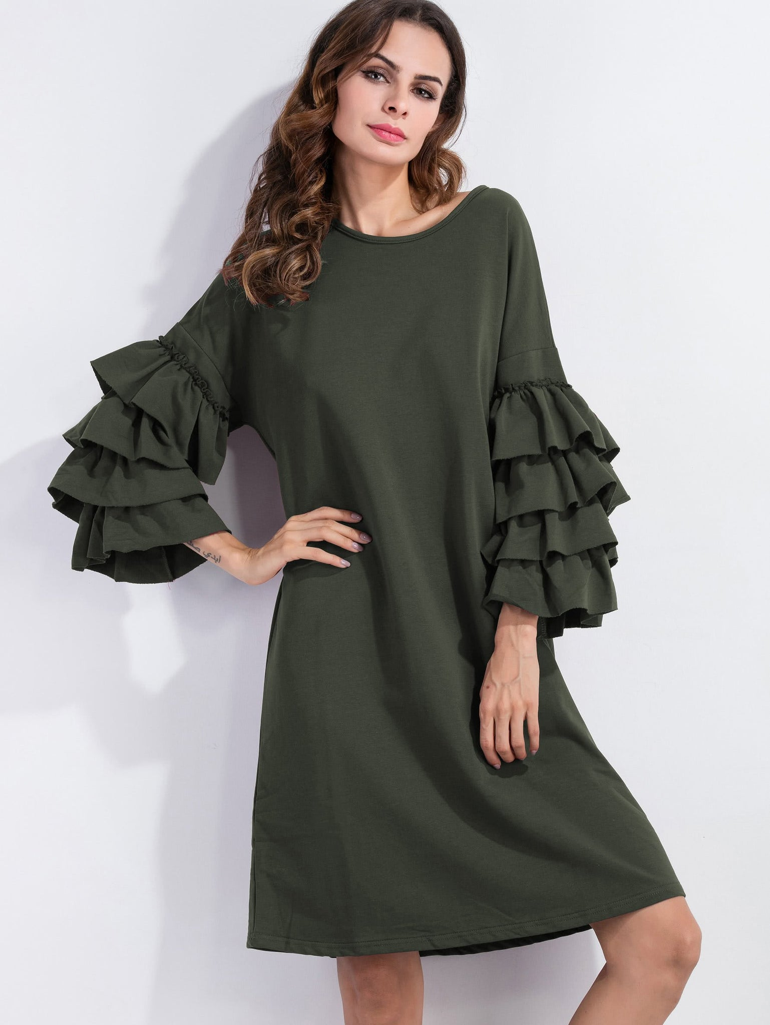 """Boho fresh"" ruffle sleeve tshirt loose dress (1462511730731)"