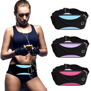 """Iconic fitness"" headphone port travel casual workout fannypack (1462479716395)"