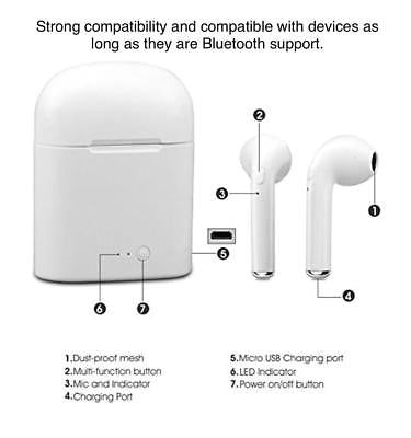Wireless Bluetooth iPhone android AirPod headphones w charging case