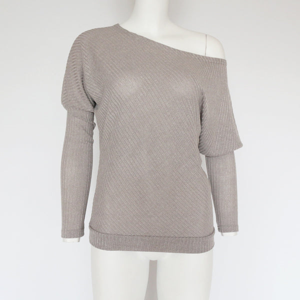 Off the shoulder loose sweater top (4357130059859)
