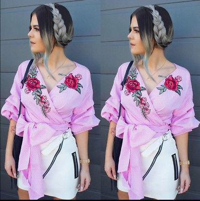 """Bella"" rose detail wrap bow tie blouse - Iconic Trendz Boutique (1462533586987)"