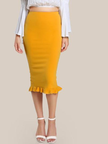 """Sunshine"" ruffle hem midi pencil skirt"