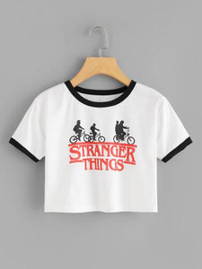 Stranger things printed crop top (1462455074859)