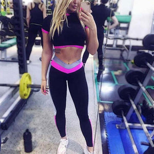 2 piece crop top pants workout yoga fitness clothing set