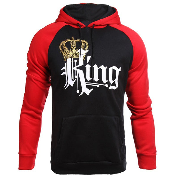 Crown king and Queen colorblock couples matching pullover hoodie sweater (4350261723219)