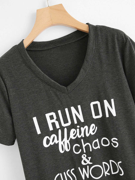 I run on caffeine printed tshirt (1462485385259)