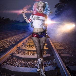 Harley Quinn Daddy little monster Halloween costume crop top shorts set (2179973185579)