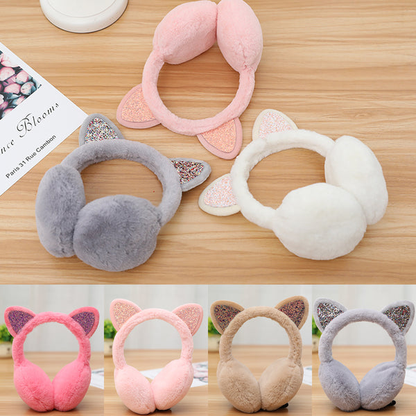 Cute cat ears glitter warm ear muff (4357137104979)