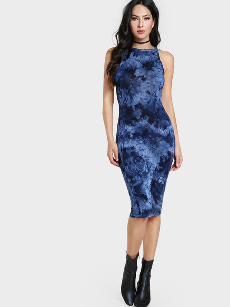 Tie dye bodycon backless midi dress