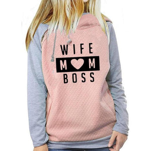 Wife mom boss pullover hoodie sweatshirt (1462478176299)