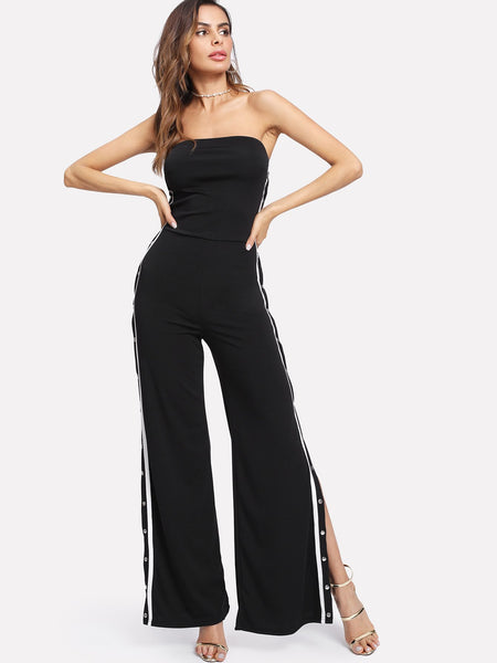 Trendy Side stripe snap side split track jumpsuit (1462511403051)