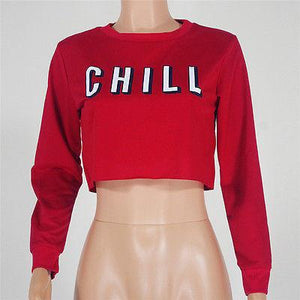 Netflix and chill pullover crop sweatshirt - Iconic Trendz Boutique (1462575202347)