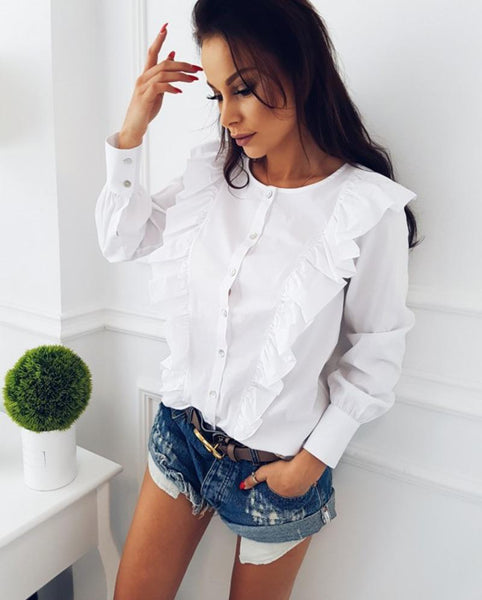 Couture ruffle panel long sleeve shirt - Iconic Trendz Boutique (1462533292075)