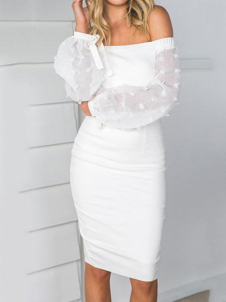 """Mira"" off the shoulder sheer sleeve bodycon dress - Iconic Trendz Boutique (1462532767787)"