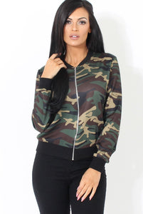 Ladies Army camo style bomber jacket (1462530572331)
