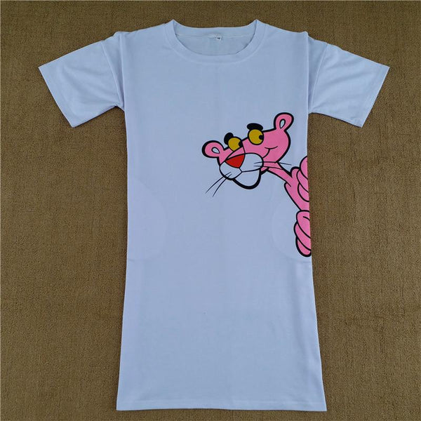 Pink panther 3D fashion tshirt dress (1462530768939)