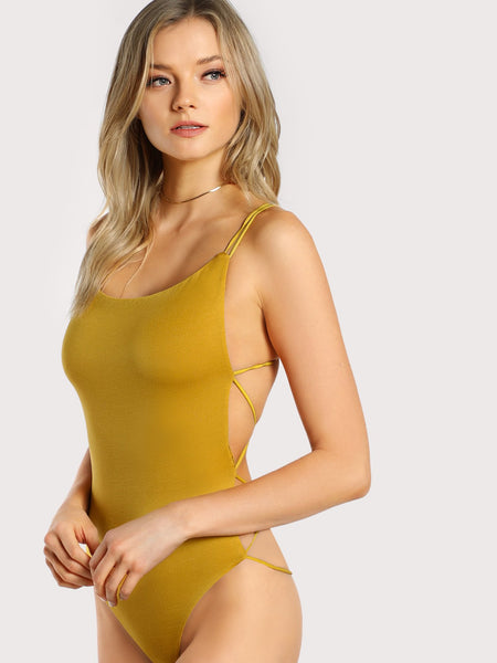 Strappy backless bodysuit top (1462526804011)