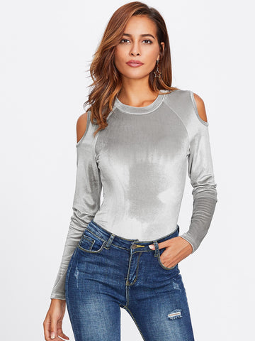 """Babe"" velvet cutout shoulder bodysuit top (1462526279723)"