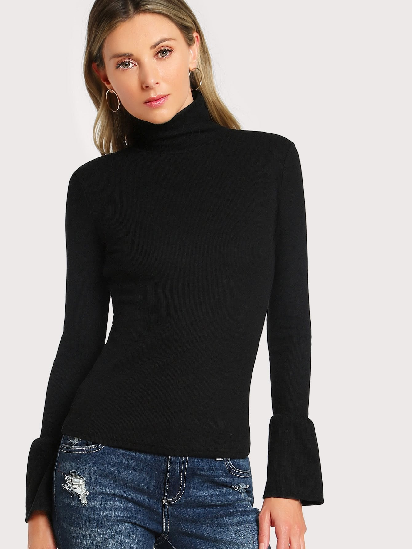 Bell sleeve turtle neck top (1462526246955)