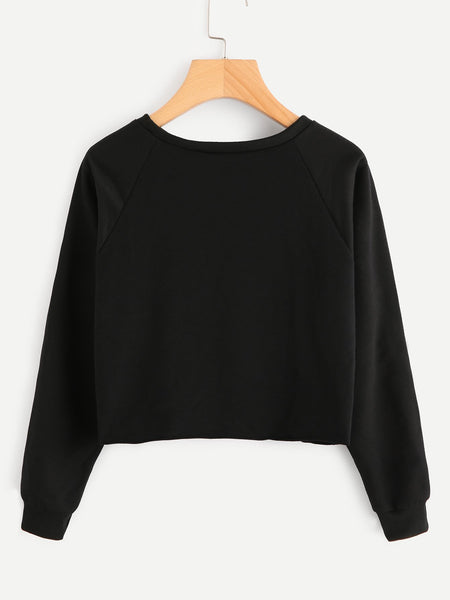 Brooklyn text pullover fashion crop sweater (1462525919275)
