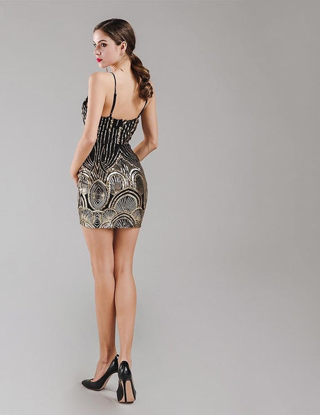 Gold and black design detail mini dress (1462524805163)