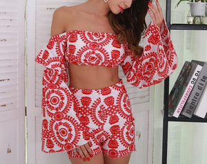 """Festive boho"" 2 piece ruffle sleeve crop shorts set"