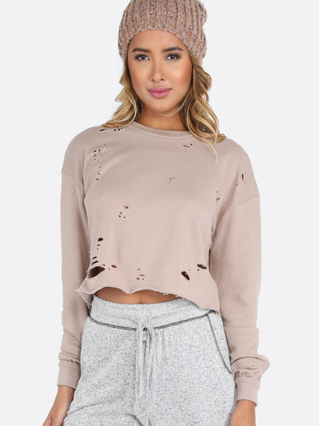 Distressed pullover sweater (1462524215339)