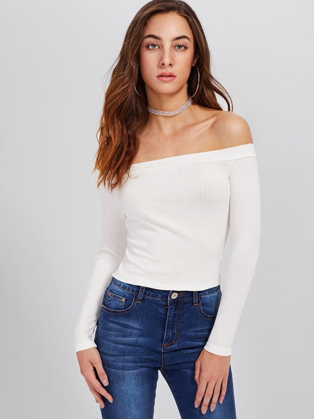 Chic Ribbed crop top (1462521036843)