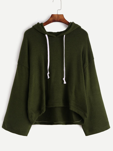 Ladies retro wide sleeve oversize hoodie sweater (1462520873003)