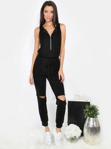 Trendy cutout distressed knee zipper jumpsuit (1462519955499)