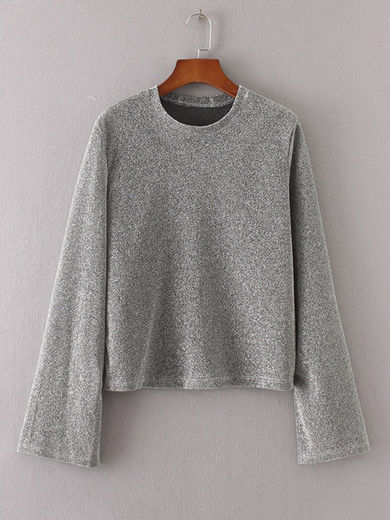 Ladies oversize retro bell sleeve sweater top (1462519595051)
