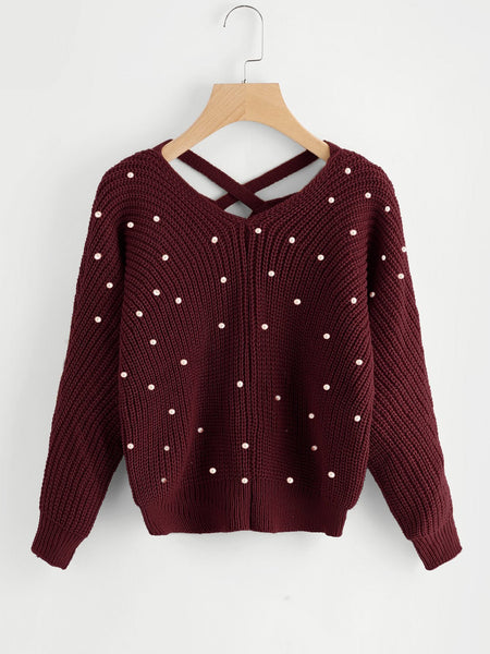 Pearl detail knitted sweater (1462519300139)
