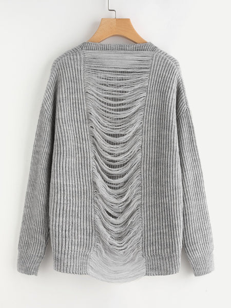 Oversize knitted ladder distressed sweater (1462519267371)