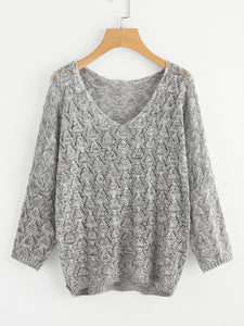 Loose fit v neck fashion sweater (1462519201835)