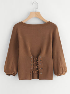 Ladies lace up corset fashion sweater top (1462518284331)