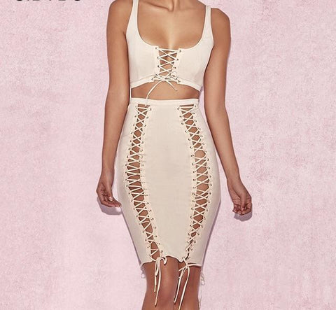 Sexy lace up detail 2 piece crop top skirt set - Iconic Trendz Boutique (1462573596715)