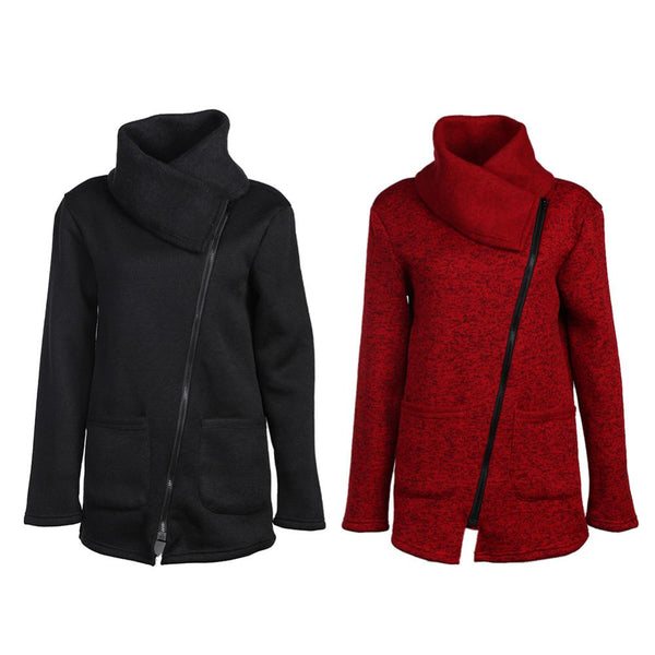 wrap turtle neck warm zipper jacket (1462517694507)