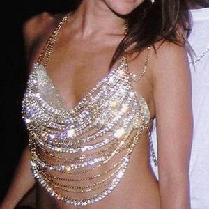 """Vegas"" diamond Body Chain Bra Top - Iconic Trendz Boutique"