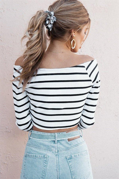 Off the shoulder stripe top (1462517104683)