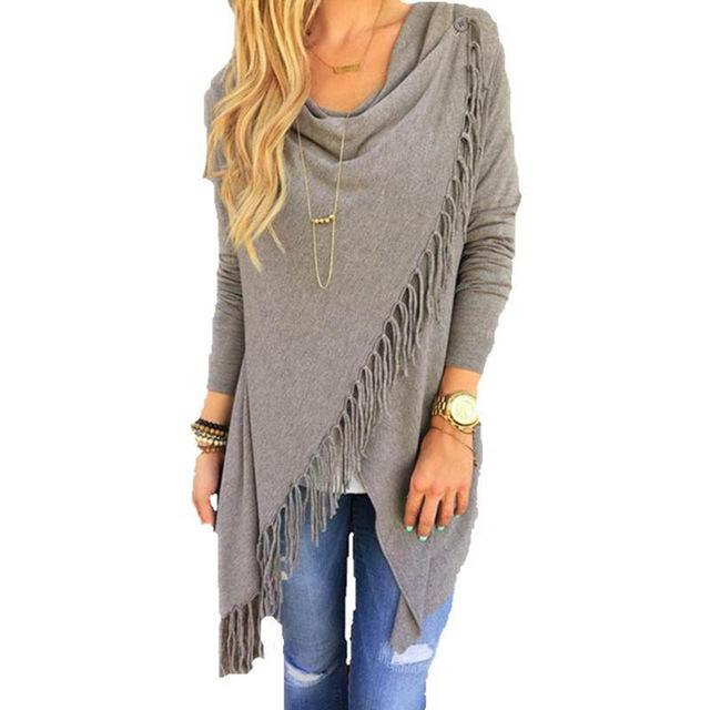 Fringe detail asymmetrical wrap sweater (1462516973611)