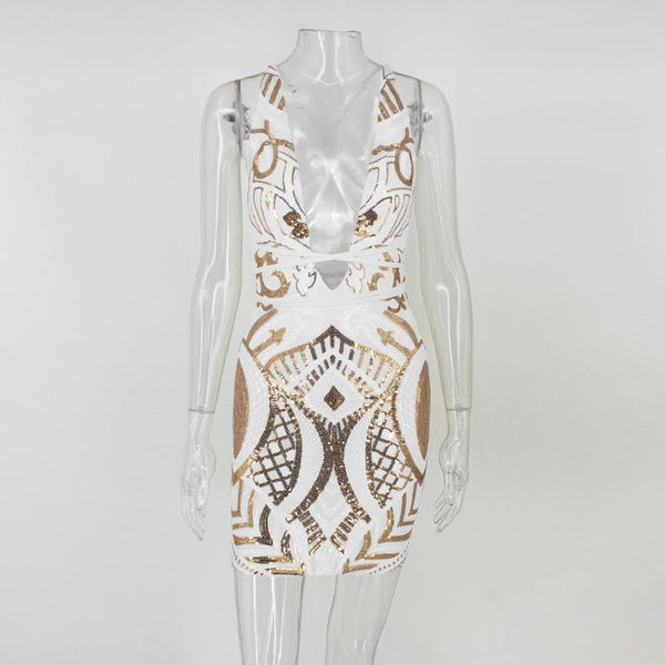 """Angelic"" Gold and white deep front strappy back bodycon dress (1462515990571)"